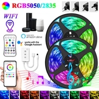 led strip lights wifi luces led rgb 5050 smd 2835 flexible waterproof tape diode 5 30m dc 12v with remote control power adapter