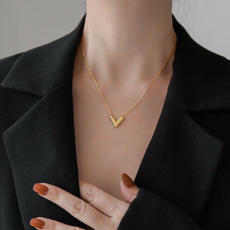 canze-Корея-s925-серебряные-женские-v-колье-в-винтажном-стиле-с-массивными-личные-письма-ключица-цепочка-ожерелье-кулон