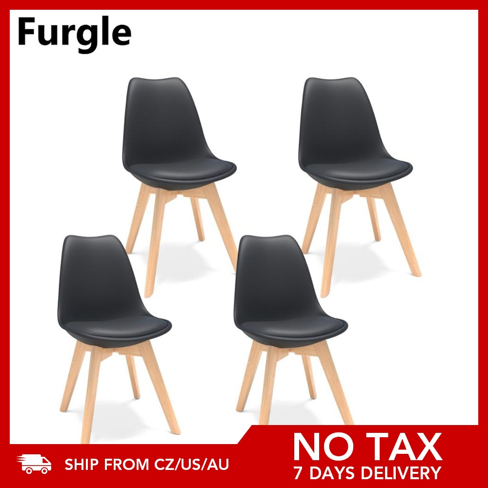 Furgle Black 4Pcs Mid-Century Modern Style Plastic Shell Dining Chair with Beech Wooden Legs Office Chair with Cushion Bar Chair
