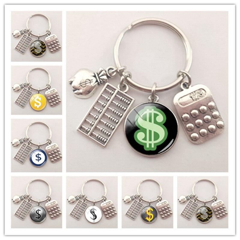 Llaveros accesorios a la moda, llavero con Logo del dólar, llavero convexo de cristal para coche, joyería, colgante para bolso, regalo de joyería