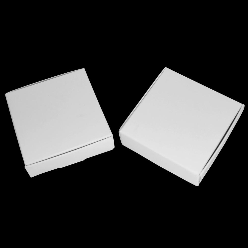 حزمة هدايا للزفاف 9.4*9.2*2.1 سنتيمتر صندوق ورقي أبيض لتغليف الذكرى السنوية مجوهرات كرتون ورقي حرفي علب حلوى للكوكيز ذاتية الصنع