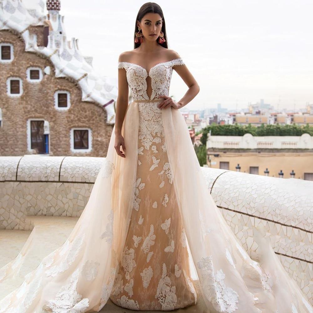 Bohemia boda vestido de sirena de novia desmontable gownOFF hombro apliques de...