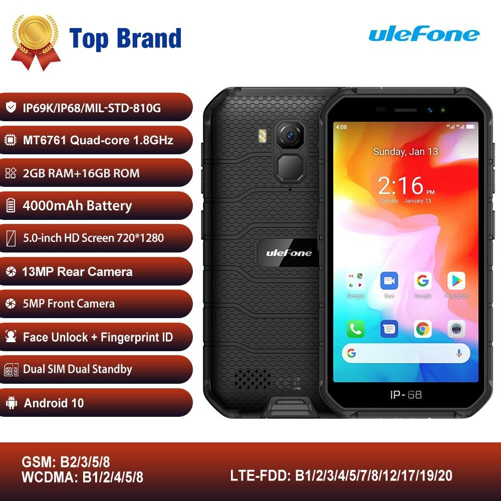 Перейти на Алиэкспресс и купить Ulefone Power X7 IP68/IP69K прочный мобильный телефон 5 дюймAndroid 10 MTK6761VWE 4 ядра 2 ГБ + 16 Гб Face ID 4000 мА/ч, 4G Смартфон NFC