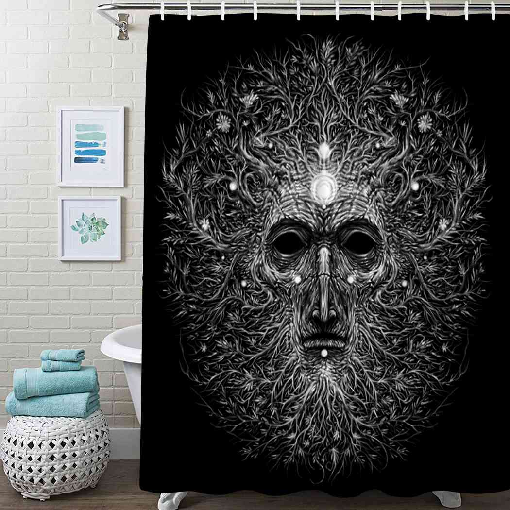 Psychedelic Tree Shower Curtain Forest Magic Shower Curtain Waterproof Fabric For Bathroom Decor Shower Curtains Set With Hooks christmas log cabin snowmen tree printed shower curtain