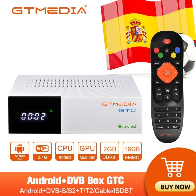 GTMEDIA GTC مربع التلفزيون الذكية DVB-S2/T2/كابل دعم اسبانيا m3u واي فاي ثلاثية الأبعاد 4K H.265 بنيت في 2.4G واي فاي تي في بوكس أندرويد PK GEMEDIA G1G2 G3