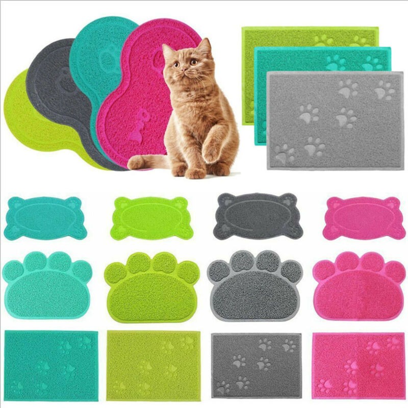 Nueva estera para residuos de gato para perros, alfombrilla de alimentación para gatos, bandeja de plato para gatos, almohadilla de limpieza fácil y ordenada, alfombrilla para garra de perro caliente