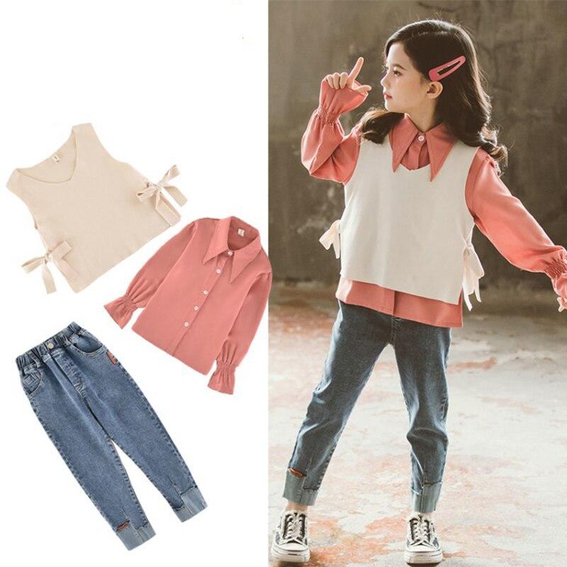 2021 printemps filles ensemble de vêtements enfants Version coréenne gilet chemise jean costume trois pièces ensemble de vêtements 4 5 6 7 8 9 10 11 12 ans