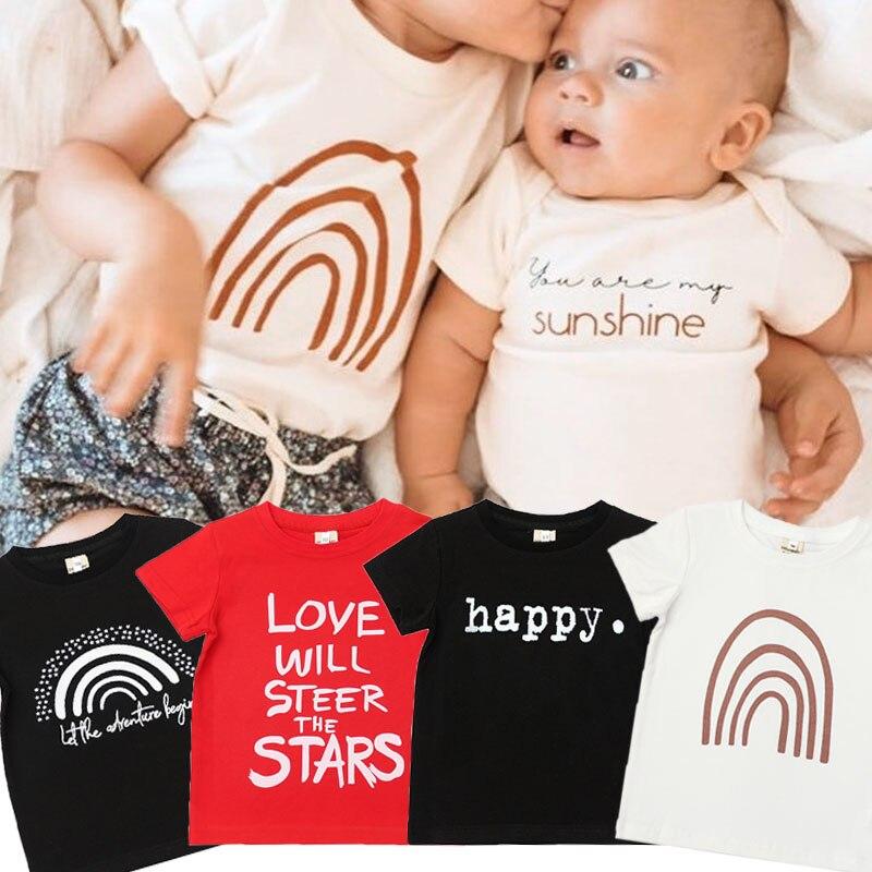 Детская футболка с буквенным принтом, вечерние футболки для мальчиков и девочек