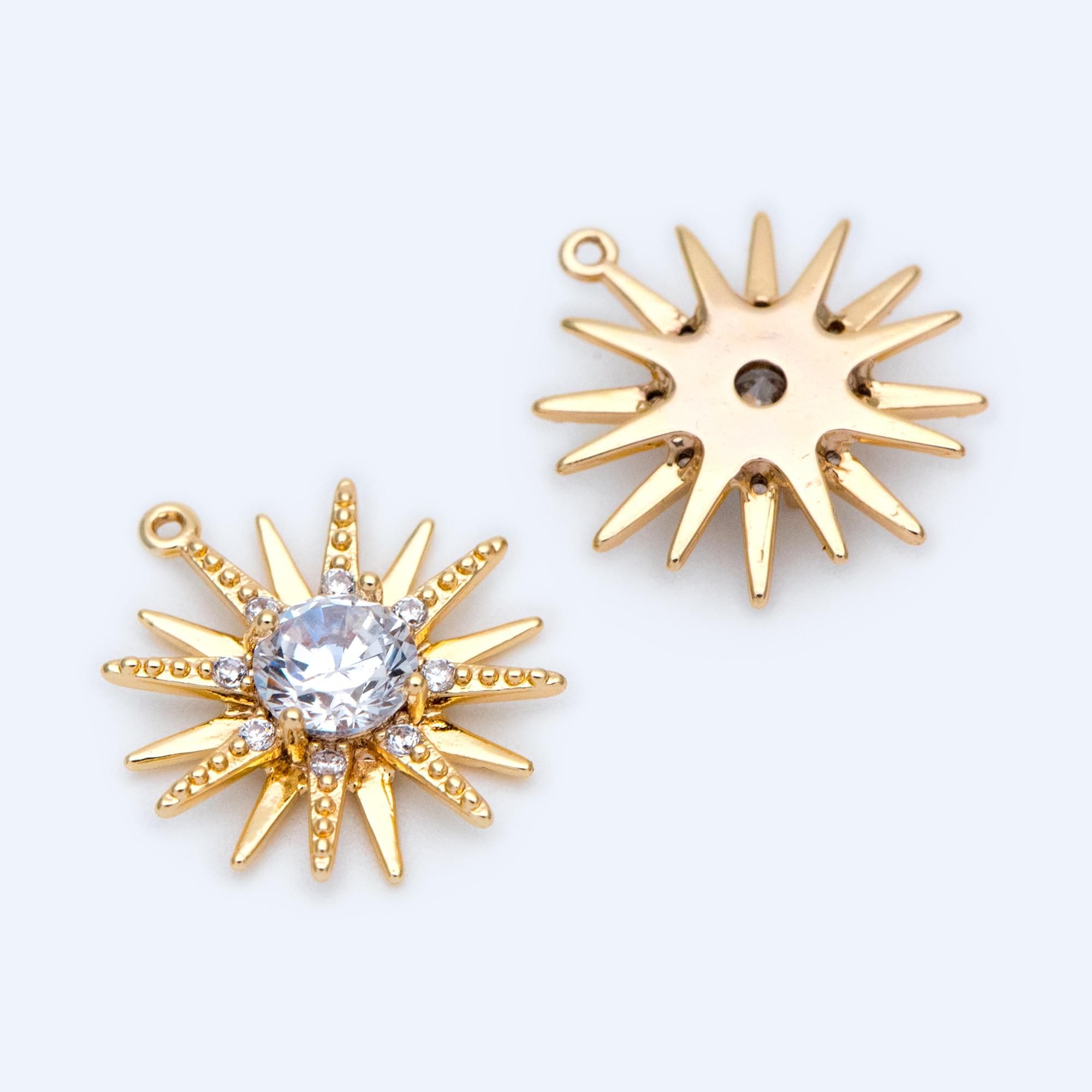 10 Uds CZ pavimentado oro abalorios del sol 16x15mm, 18K oro plateado latón, colgantes del Sol (GB-1265)