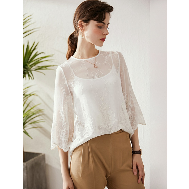 Top women 100% silk translucent fabric two pieces set embroidery o neck long flare sleeves ladies casual t-shirt new fashion