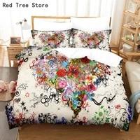 floral digital print bedding set kids adult duvet cover pillowcase sets auuseuuk size quilt comforter bedcloth queen king bed