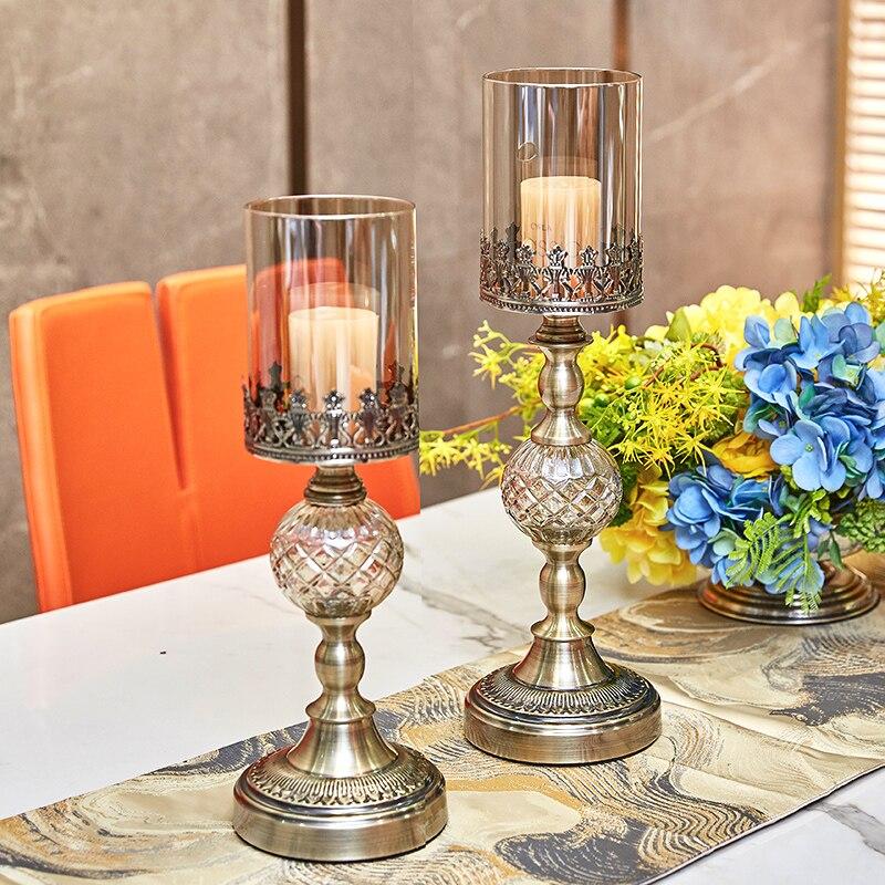 Candelabro De Metal creativo para decoración del hogar, Portavelas De Cristal De...