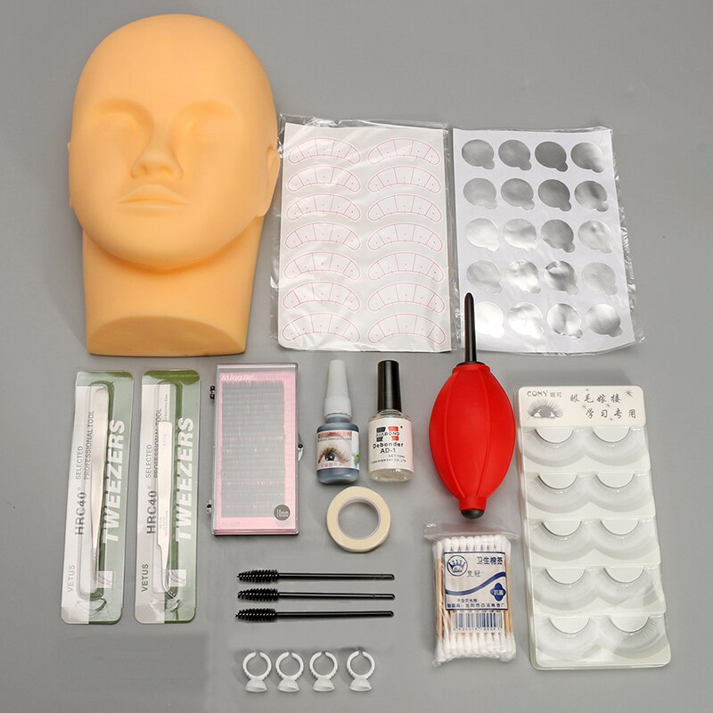 1 Juego de Kit de injerto de pestañas de cabeza de entrenamiento Individual pestañas postizas de práctica herramienta de pegamento de cabeza de injerto pestañas de extensión de maquillaje