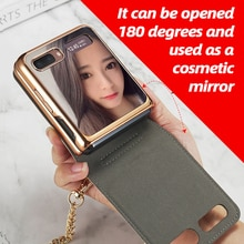 Messenger Bag Case Cosmetic Mirror Chain Mobile Phone Bag Case for Samsung Galaxy Z Flip Case PU Lea