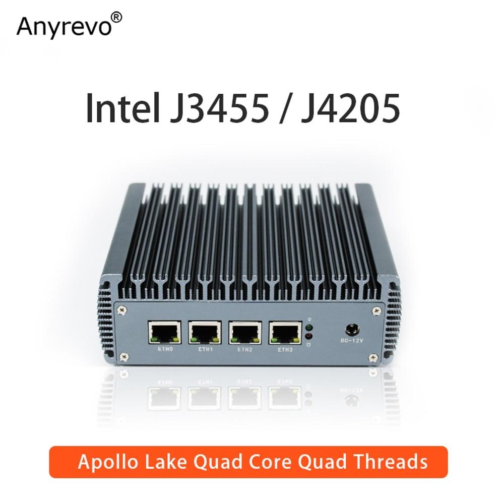 Fanless Soft Router Intel Celeron J3455 Quad Core Mini PC with VGA HD-MI 4 Intel Gigabit LAN for pfSense firewall AES-NI
