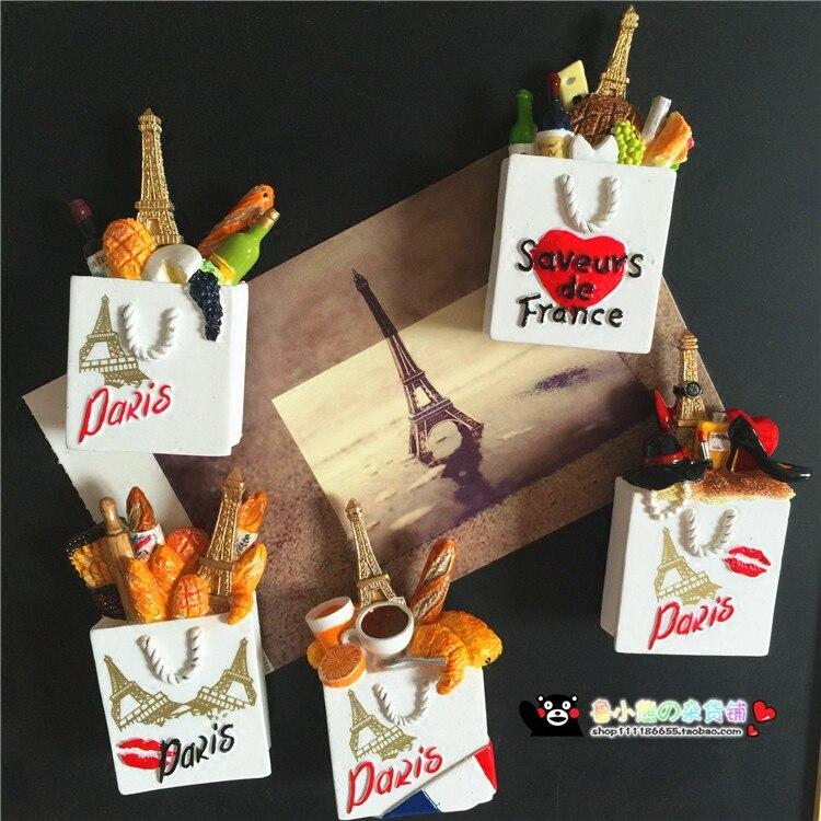 Turm Paris Frankreich Rotwein Käse Brot Tasche 3D Magnetischen Kühlschrank Aufkleber Kühlschrank Magnet Home Dekoration Souvenir Zubehör