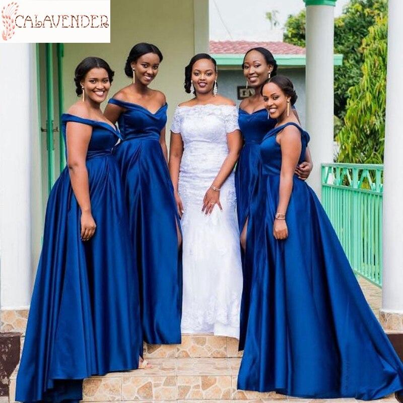 Vestido de satén para dama de honor, de color azul real, corte...