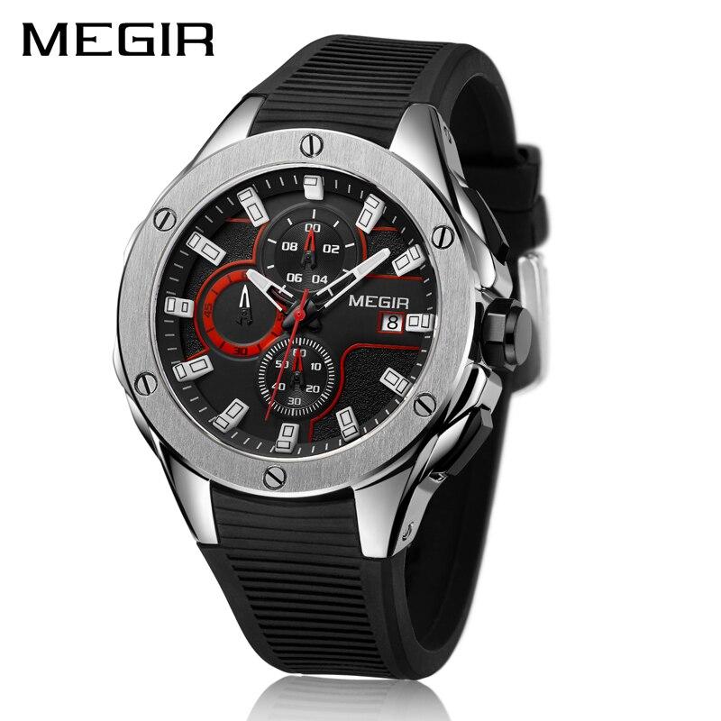 Спортивные кварцевые часы MEGIR с хронографом, мужские часы роскошного бренда, силиконовые армейские мужские часы, мужские часы, мужские часы
