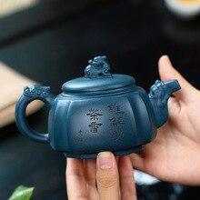Yixing célèbre dragon théière à la main kung fu bouilloire boue vert avec boîte-cadeau