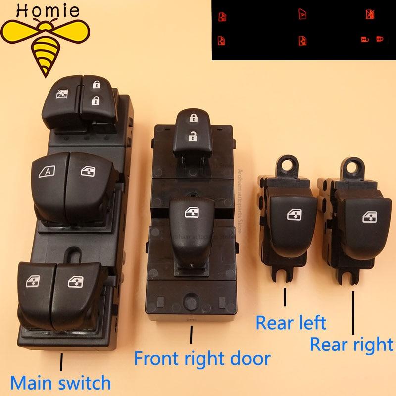 ¡Entrega rápida! Interruptor de Ventanilla de alimentación automática, interruptor principal/SIMPLE/frontal de ventana derecha para Nissan Qashqai/Altima/Sylphy/Tiida/x-trail