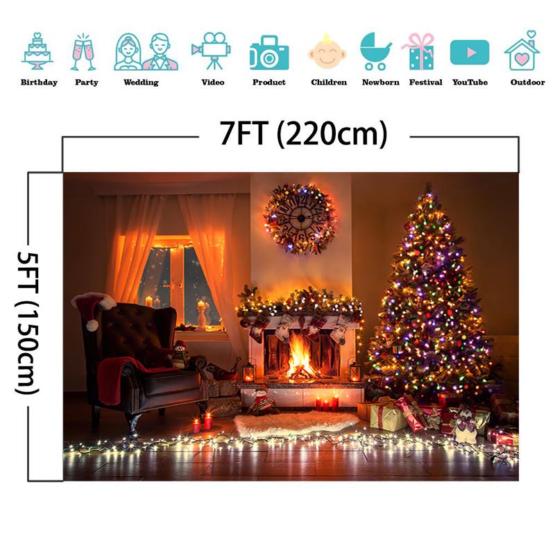 Christmas Theme Backdrop Fireplace Decorative Tree Gift Socks Garland Clock Warm Light Photography Background For Photo Studio enlarge