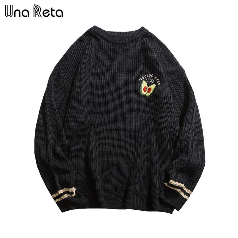 Una Reta Men Sweater New Autumn Winter Embroidery Avocado Lover Pullover Men's Sweater Pull Homme Loose Patchwork Sweater Men