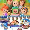 Cocomelon Festa di Compleanno Decorazione Festa di compleanno Per Bambini Forniture Famiglia festa di compleanno Del partito Del Fumetto da tavola di paglia