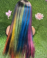 alifitov rainbow color 13x4 lace front wigs brazilian straight human hair wig remy hd lace wig for women