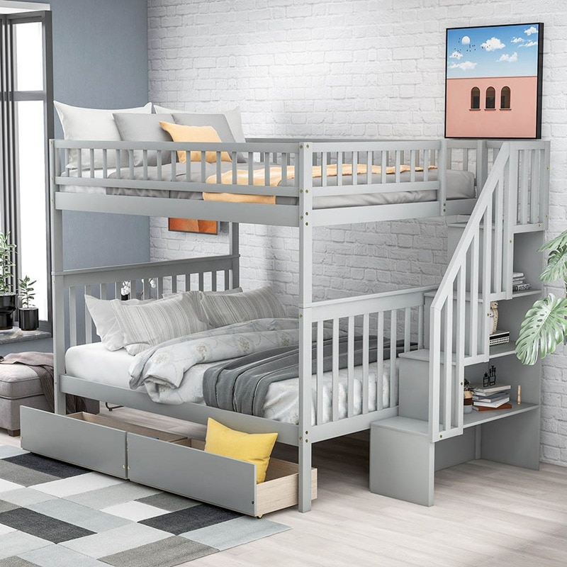 Full Over Full Bunk Bed With Two Drawers And Storage