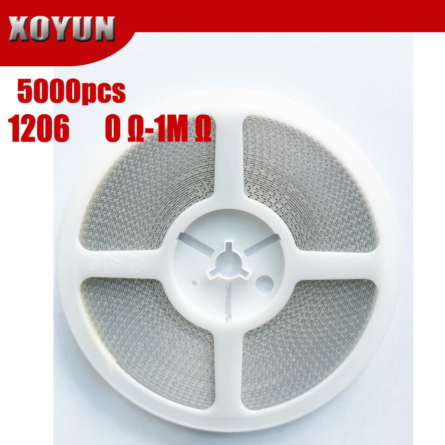 5000 шт. 1206 SMD резистор 0R ~ 10M 1/2 Вт, для детей 0, 1, 10 100 150 220 330 Ом 1K 2,2 K 10K 100K 0R 1R 10R 100R 150R 220R 330R