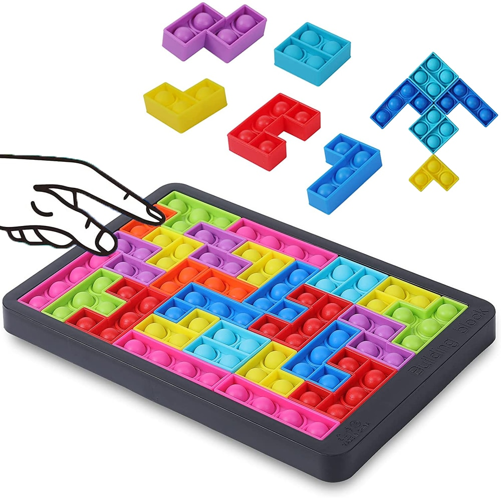 27pcs Tetris Jigsaw Puzzle Pops Its Fidget toys Anti-stress Popet Push Bubble Sensory Toy puzzle board educational toy for child