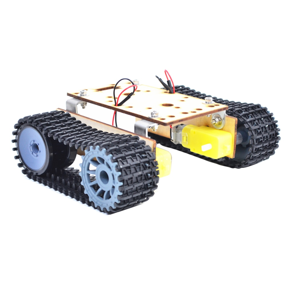 economy robot wooden tank chassis tt motor 3 9v tracked intelligent car tool r9ue Alloy Tank Car Chassis Crawler DIY Car Kids Science Toy With TT Motor Set