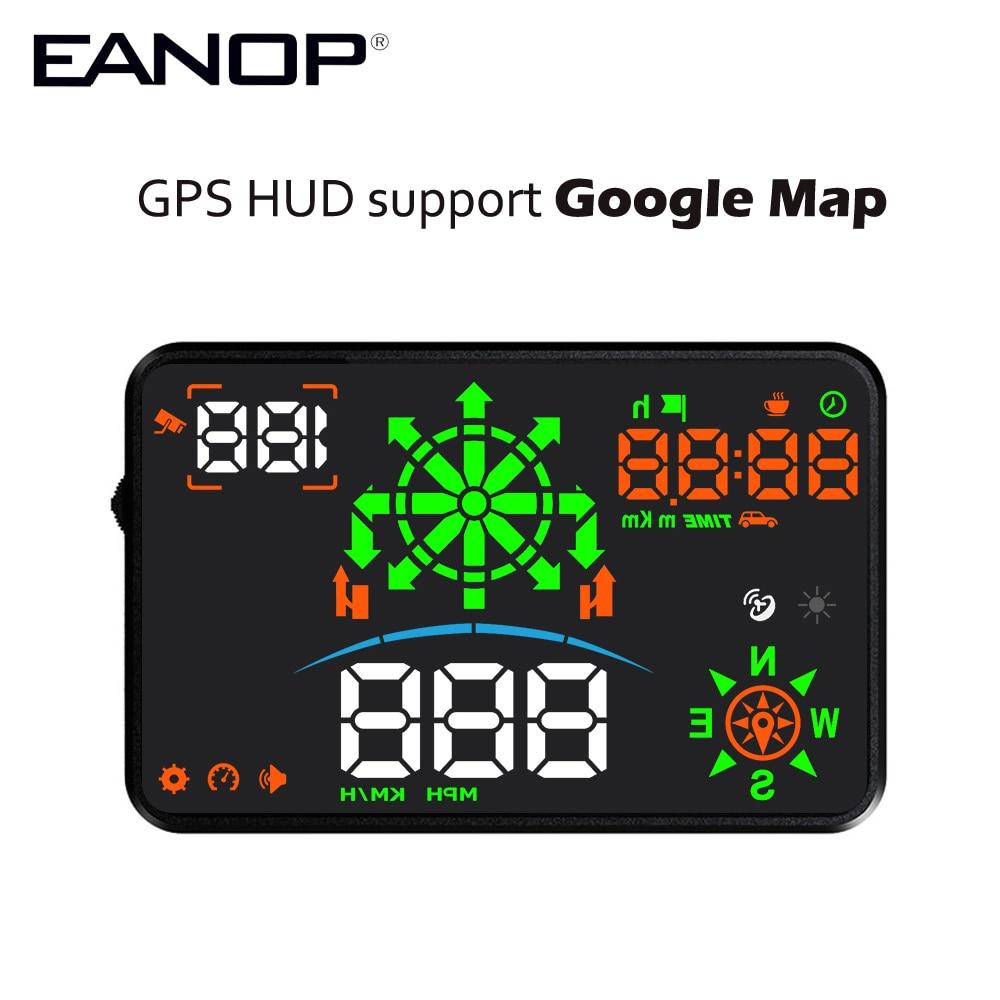 EANOP 5.5R GPS HUD pantalla Head up velocímetro KMH/MPH navegación brújula proyección Overspeed alarma