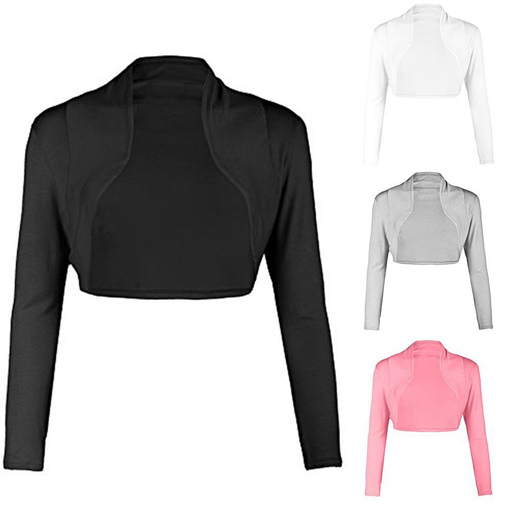 2019 moda mujer abrigo Ultra corto abierto Color sólido manga larga Bolero encogimiento de hombros chaqueta para mujer abrigo
