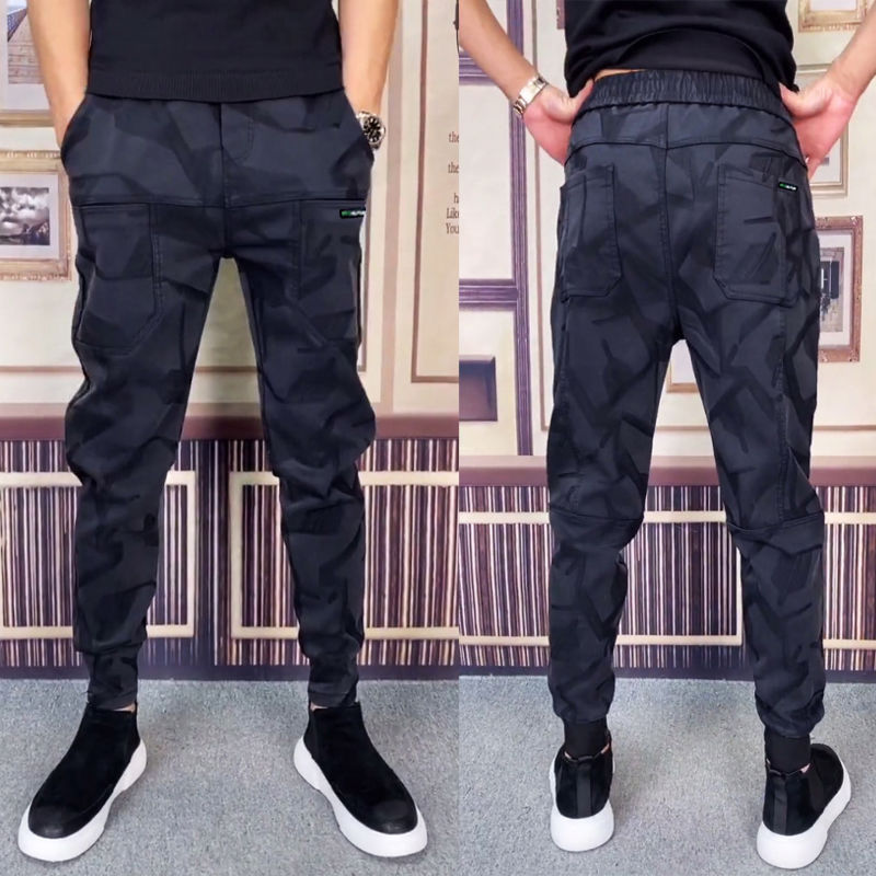 Осенне-зимние жаккардовые эластичные штаны с поясом на резинке мужские удобные индивидуальные деловые повседневные трендовые штаны