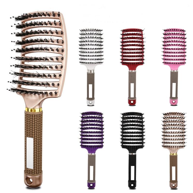 salon professional bristle Salon Professional Bristle & Nylon Hairbrush Scalp Massage Comb Wet Hair Brush
