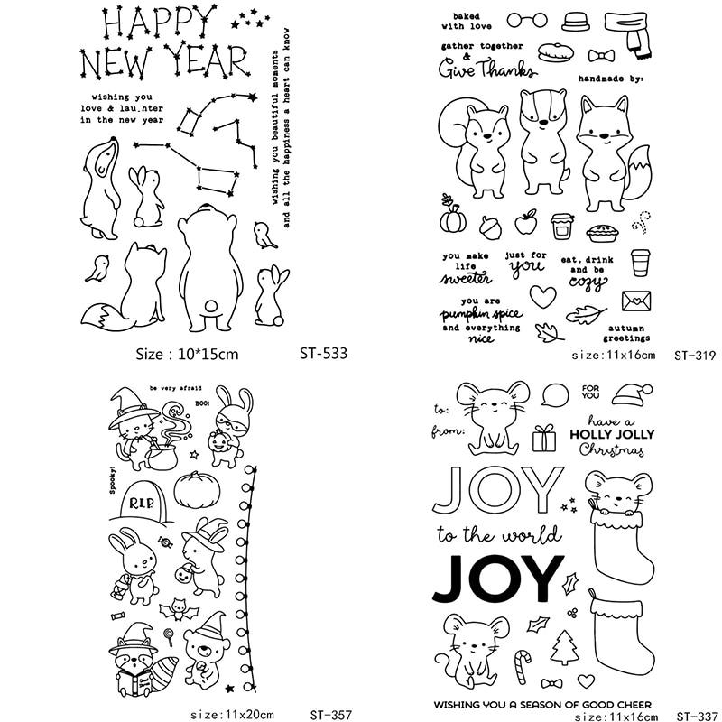 AZSG Vários Animais Bonitos Do Rato Coelho Limpar Stamps/Selo Para DIY Fazer Scrapbooking/Cartão/Album Decorativo Silicone artesanato selo