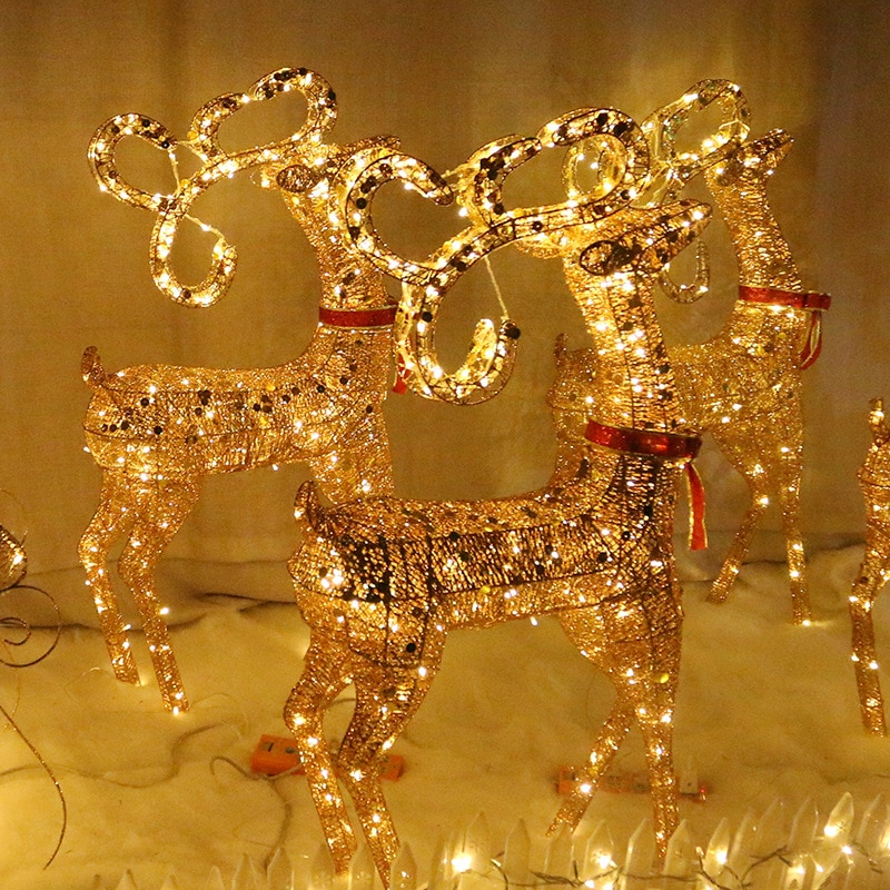 2022 Christmas glowing wrought iron Christmas elk sleigh decorations hotel shopping mall holiday atmosphere decoration ornaments