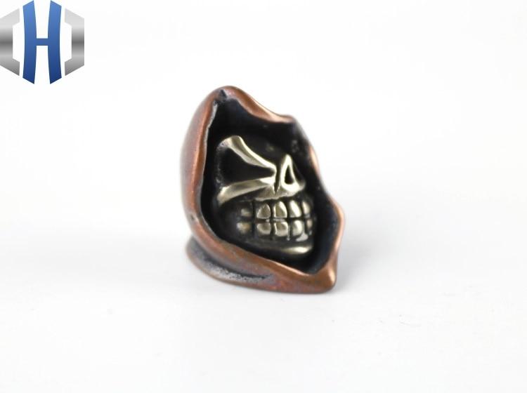 EDC Knife Beads Copper Death Skull Lanyard Bead Paracord Knife Tool DIY Pendant