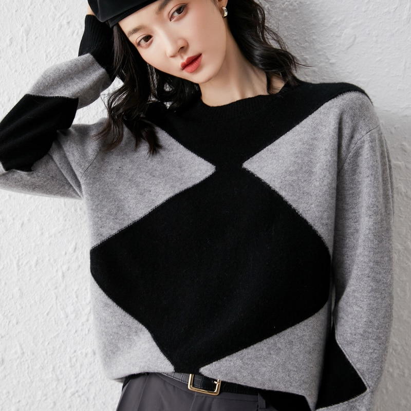 adohon 2021 woman winter 100% Cashmere sweaters knitted Pullovers jumper Warm Female Patchwork blouse blue long sleeve clothing enlarge