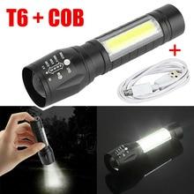 Linterna LED portátil T6 COB, impermeable, táctica, recargable por USB, para acampar, foco con zoom, luz nocturna