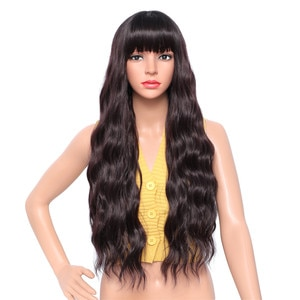 Long Wave Synthetic Wigs For Black White Women Cosplay Wig Black Wig Heat Resistant Fiber Hair Halloween Costumes For Women