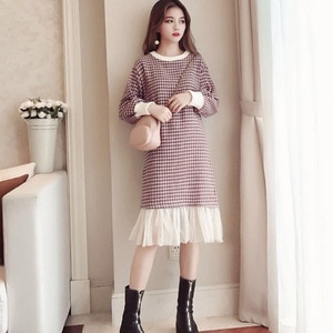 Dress For Women Plaid Woolen Coat New Long Sleeves French Medium Length Over Knee Wide Waist Type Style Mesh Classic Skirt Q1