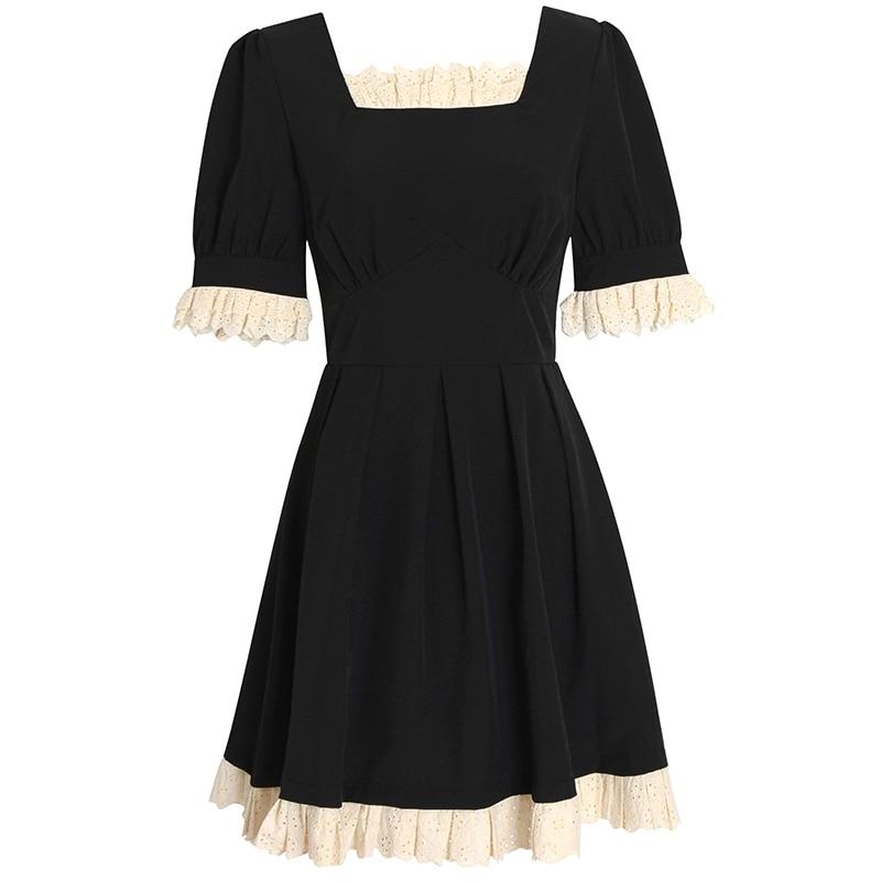 الصيف خمر امرأة اللباس الحلو الدانتيل طوق مربع الأسود الصغير Vestido مكتب السيدات ملابس أنيقة الكشكشة حزب البسيطة فساتين