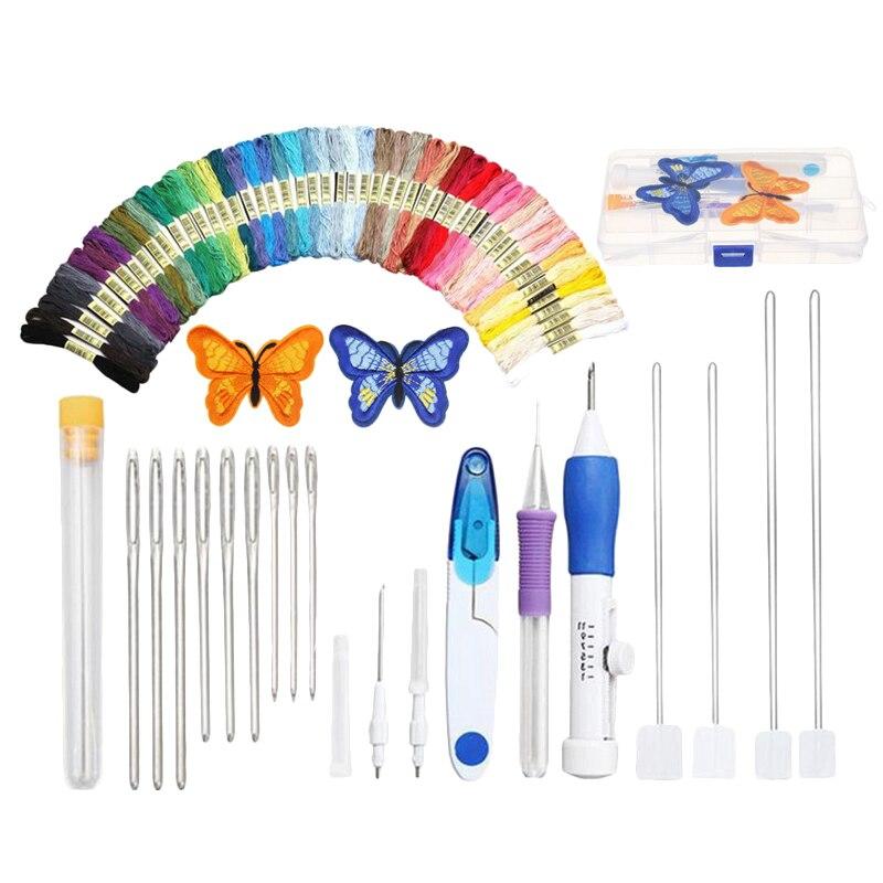 DIY Kit de herramientas de costura, bolígrafo para bordar punto, conjunto de agujas de punzón con hilos 50x