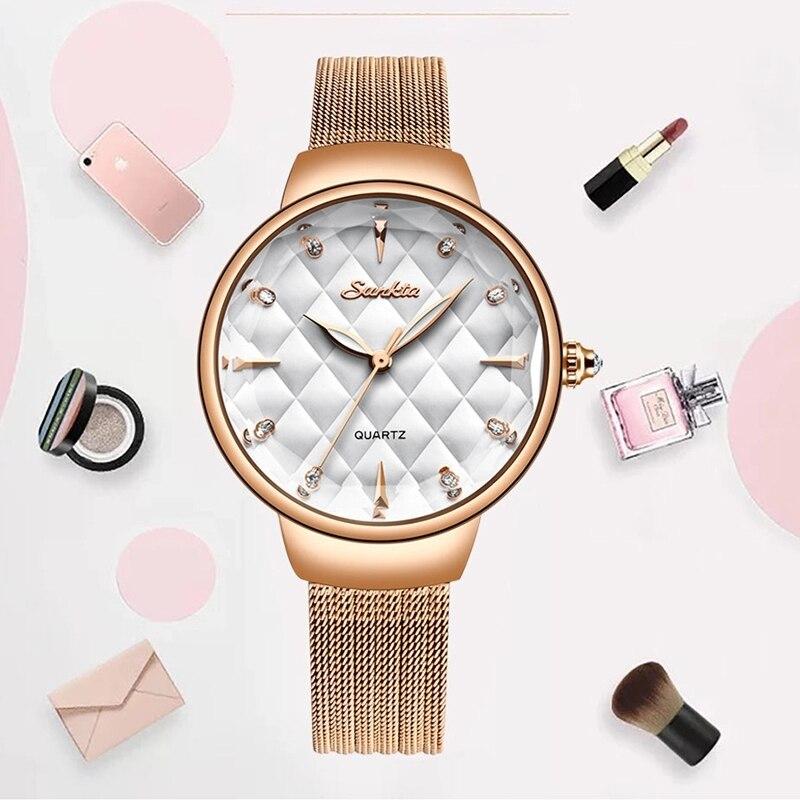 SUNKTA Watch Women Fashion Casual Dress Quartz Watches Lady  Mesh Strap Waterproof Wristwatch Simple Girl Clock Relogio Feminino enlarge