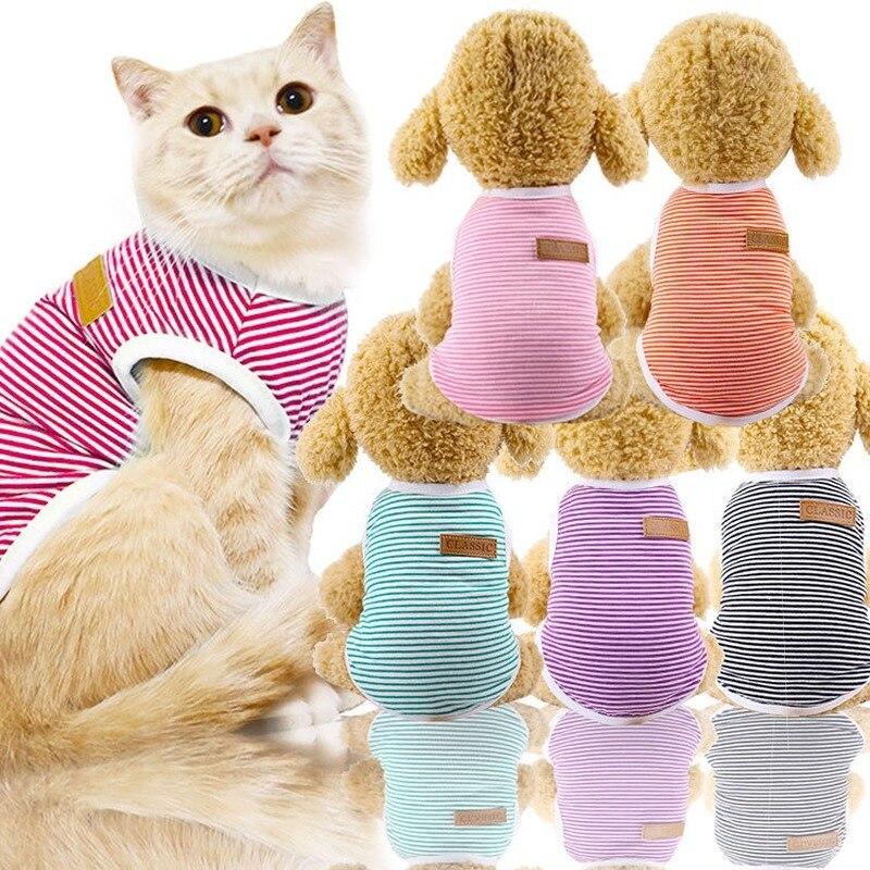 Roupas para cachorros puoupuou, casaco listrado de verão para animais pequenos e médios roupa XS-2XL,