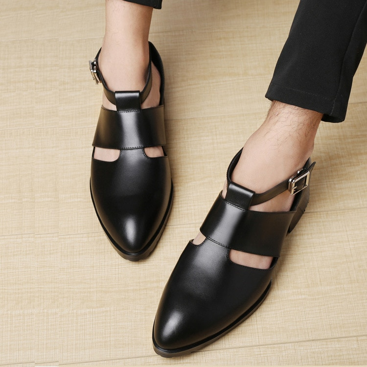 DIY brand shoes Men's Baotou casual luxury leather sandals top layer cowhide pointed toe hollow summ