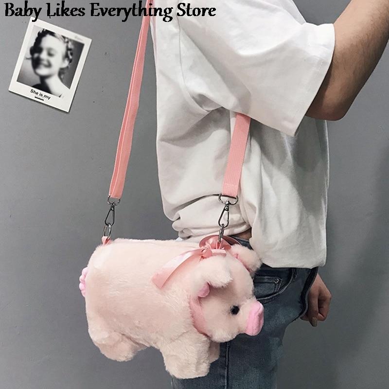 Lovely Pig Shoulder Bag Soft Plush Stuffed Toys Cartoon Animal Pig Crossbody Bag Women Key Phone Pur
