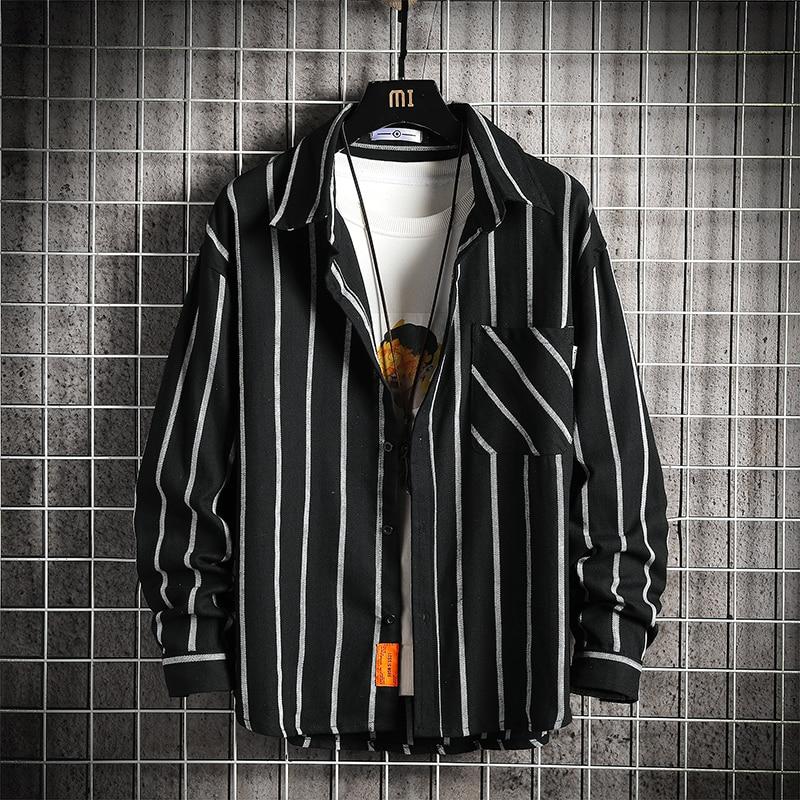 Men's Classic Long Sleeve striped Basic Dress Shirts Single Patch Pocket Formal Business Standard-fit Office Social Shirt